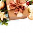 Christmas Decoration and Gift Box. Holiday Decorations — Stock Photo