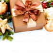 Stock Photo: Christmas Decoration and Gift Box. Holiday Decorations
