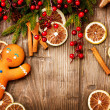 Stock Photo: Christmas Holiday Background. Gingerbread Man