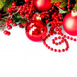 Royalty-Free Stock Photo: Christmas and New Year Baubles and Decorations border design