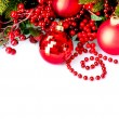 Christmas and New Year Baubles and Decorations border design - Stock Photo