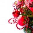 Christmas and New Year Baubles and Decorations isolated on White — Foto de Stock