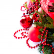Christmas and New Year Baubles and Decorations isolated on White — Stock fotografie