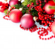 Christmas and New Year Baubles and Decorations isolated on White - Stock Photo
