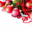 Stock Photo: Christmas and New Year Baubles and Decorations isolated on White