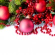 Christmas and New Year Baubles and Decorations isolated on White — Stockfoto