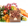 Christmas Decoration and Gift Box. Holiday Decorations — Stock Photo #19738739