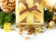 Stock Photo: Christmas Gift Box and Decorations isolated on White Background