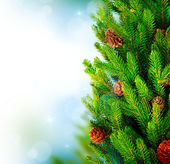 Christmas Tree Border Design over Green Blurred background — Stock Photo
