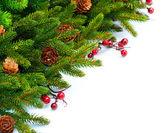 Christmas Tree decoration Border Design — Stock Photo