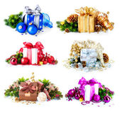Christmas Gift Boxes and Decorations Set — Stock Photo