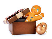 Gingerbread Man in Gift Box. Christmas Holidays — Stock Photo