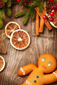 Christmas Holiday Background. Gingerbread Man — Stock Photo