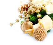 Christmas and New Year Decoration with Candle isolated on White — Stock Photo