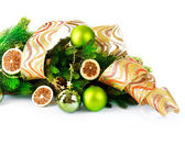 Christmas and New Year Decorations with Baubles and Ribbon — Stock Photo