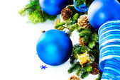 Christmas and New Year Blue Baubles And Decoration — Stock Photo