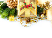 Christmas Gift Box and Decorations isolated on White Background — Stock Photo