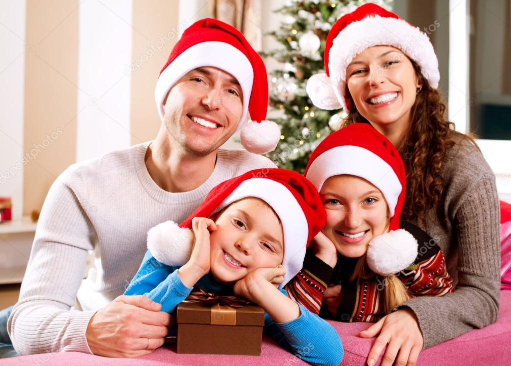 Christmas Family with Kids. Happy Smiling Parents and Children  — Stock Photo #19735019