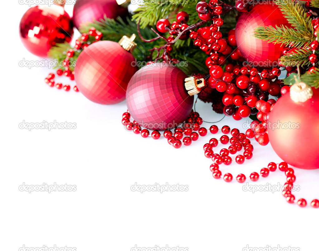 Christmas and New Year Baubles and Decorations isolated on White  — Stock Photo #19738143
