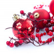 Christmas and New Year Baubles and Decorations isolated on White — Stock Photo #19740409