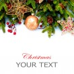 Рождественские украшения. Праздничные украшения, изолированные на белом обратно — Стоковое фото