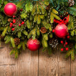Christmas Decoration Over Wooden Background — Stock Photo #19742669