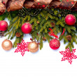 Christmas Decoration. Holiday Decorations Isolated on White — ストック写真
