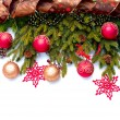Foto Stock: Christmas Decoration. Holiday Decorations Isolated on White
