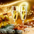 New Year and Christmas Celebration. Two Champagne Glasses - Stock Photo