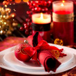 Foto de Stock  : Christmas Table Setting. Holiday Decorations