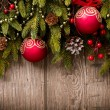 Christmas Over Wooden Background. Decorations over Wood - Stock Photo