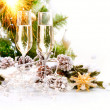 New Year Card Design with Champagne. Christmas Celebration - Stock Photo