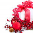 Royalty-Free Stock Photo: Christmas and New Year Gift Box and Decorations over White