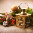 Christmas Scene. Holiday Greeting Card Design — Stockfoto