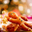 Gingerbread Man. Christmas Holiday Food. Christmas Table Setting — Stock Photo