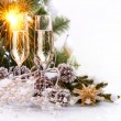 Christmas Celebration with Champagne — Stock Photo