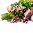 Christmas Decoration. Holiday Decorations Isolated on White — Stock Photo