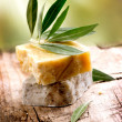 Handmade Olive Soap. Organic Cosmetics — Stock Photo