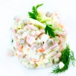 Salad Olivier. Russian traditional salad — Stock Photo #19745443