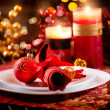 Christmas Table Setting. Holiday Decorations — Stok fotoğraf #19745571