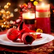 Christmas Table Setting. Holiday Decorations - Stock Photo