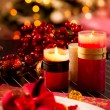 Stock Photo: Christmas Table Setting. Holiday Decorations. Decor. New Year Ce
