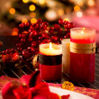 Christmas Table Setting. Holiday Decorations. Decor. New Year Ce — Stock fotografie