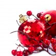 Christmas and New Year Baubles and Decorations isolated on White — Стоковая фотография