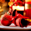 Christmas Table Setting. Holiday Decorations  — Zdjęcie stockowe