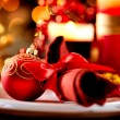 Christmas Table Setting. Holiday Decorations  — Stock Photo