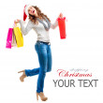 Mädchen mit Einkaufstaschen. Weihnachts-shopping. Vertrieb — Stockfoto