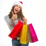 het winkelen van Kerstmis. vrouw met zakken over wit. verkoop — Stockfoto
