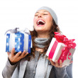Stock Photo: Happy Young Woman With Christmas Gifts. Gift Box