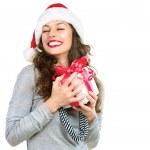 Gelukkig jonge vrouw met de doos van de gift van Kerstmis — Stockfoto